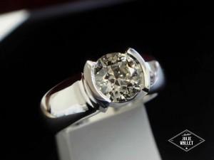 Soliatire Or Gris Diamant par l'atelier Julie Vallet Poitiers